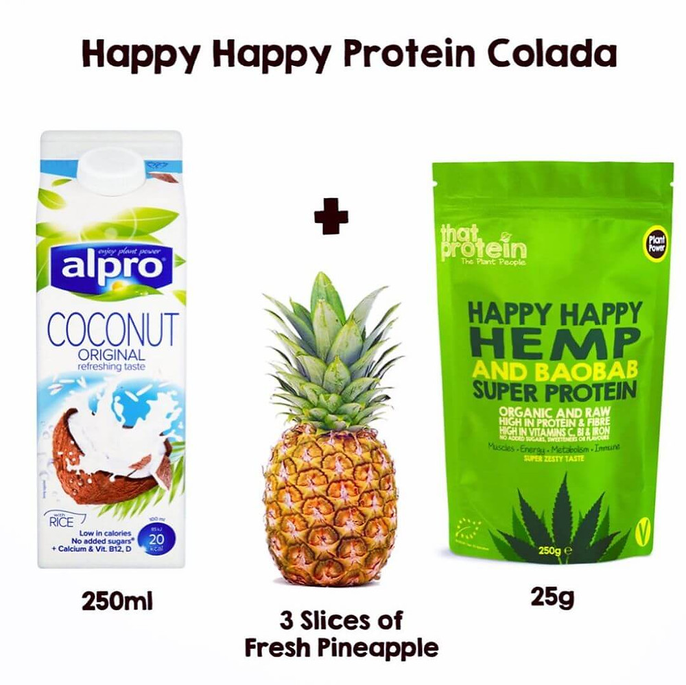 Happy Happy Hemp and Baobab Super Protein Powder Protein Colada Shake