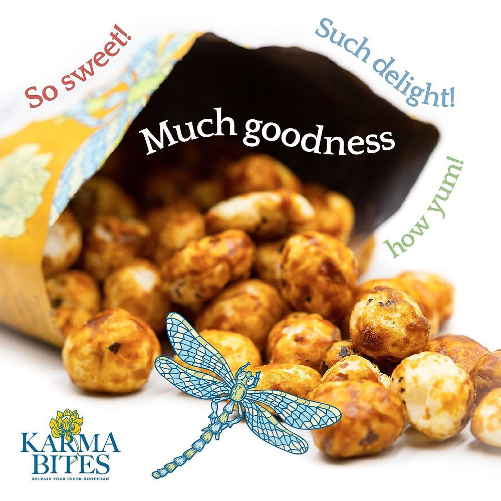 Karma Bites Popped Lotus Seed on-the-go nibbles. Healthy, filling and delicious, these nutritious snacks are perfect for eating on the go, at your desk or as a post-gym guilt-free snack. Whether you prefer sweet or savoury, Karma Bites have an option to suit all taste buds
