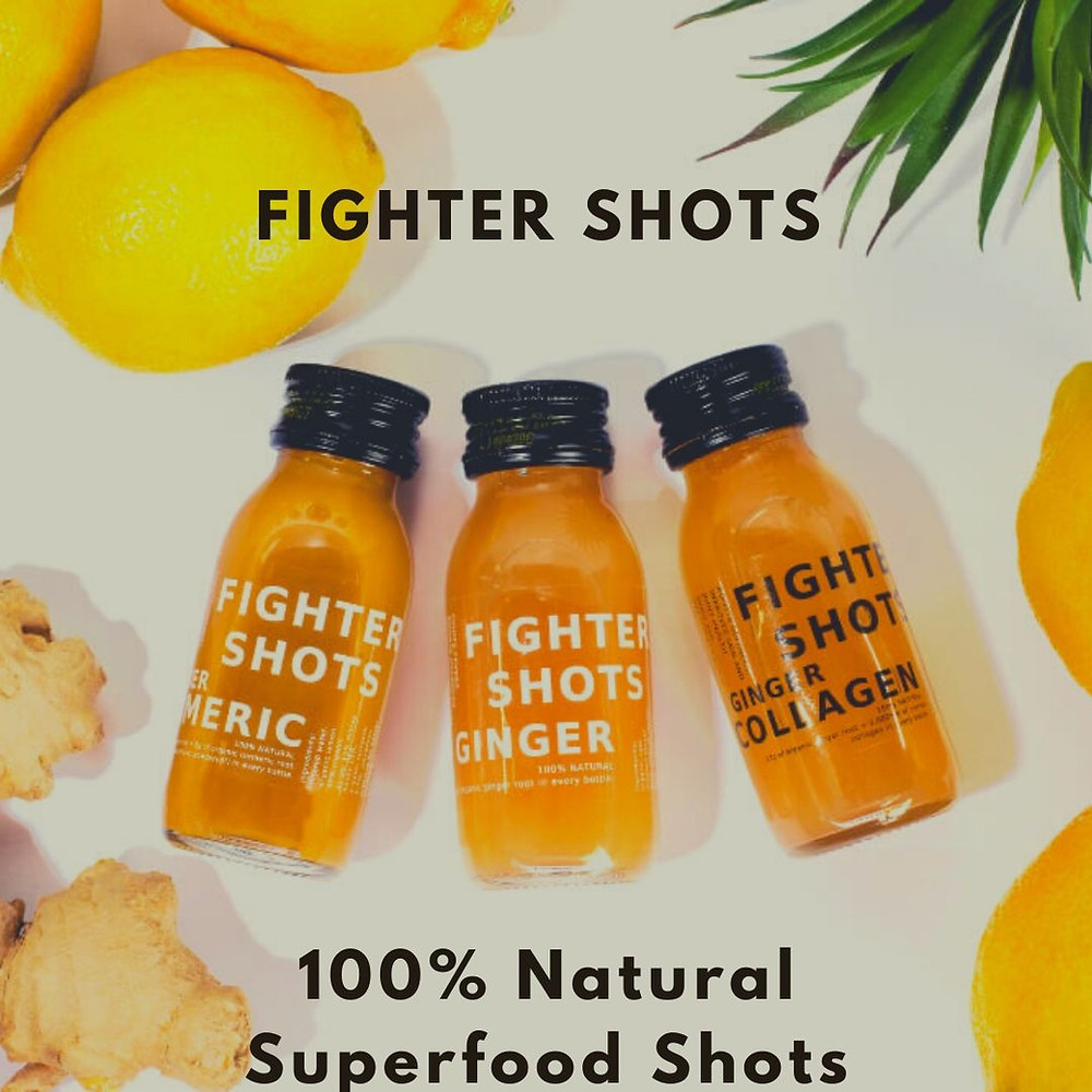Fighter Shots are all natural, superfood health shots from organic ingredients that boosts your energy in a healthy and sustainable way, in environmentally friendly glass bottles that can be re-used and recycled