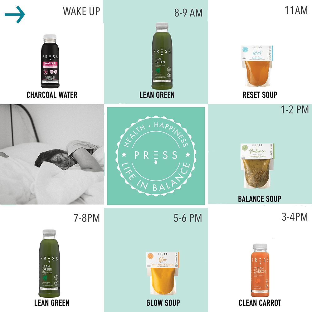 PRESS Nutrition packs can be used as signature 1, 2 or 3-day Cleanses to suit your goals with a digital pre and post juice cleanse guide available