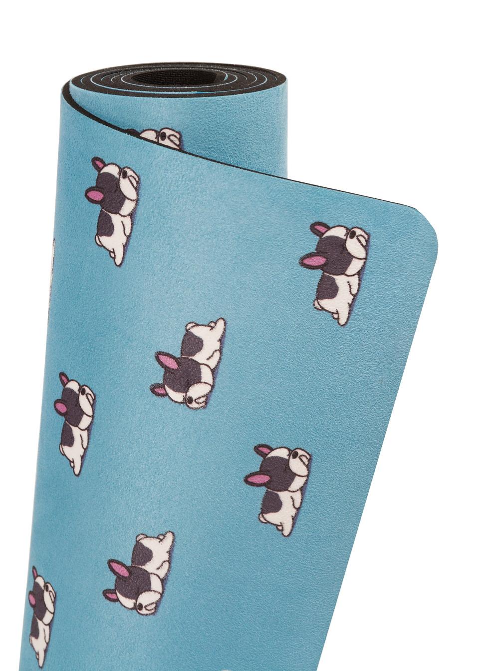 BADJER Eco Yoga Mat in Blue Dog Print