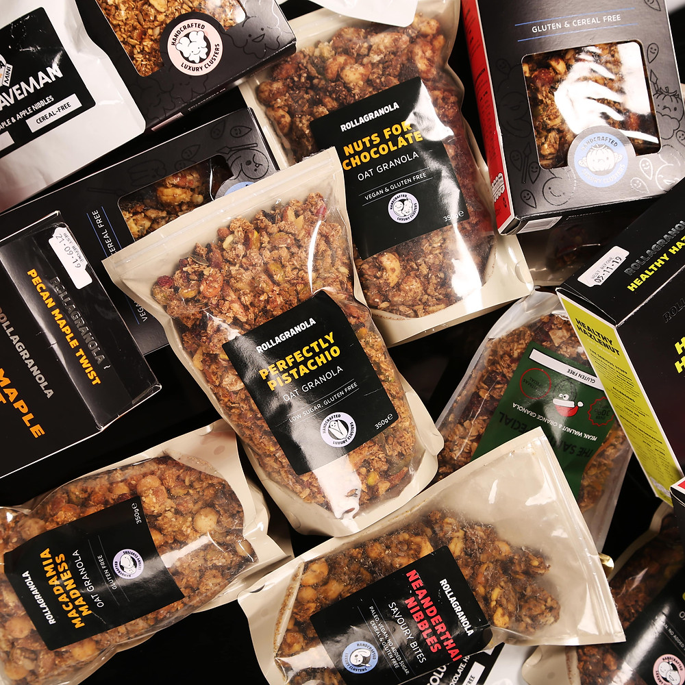 Rollagranola Delicious handmade nutty, luxury granola clusters with all-natural ingredients. All gluten free with Paleo, Cereal-free, Vegan & No-added sugar options.