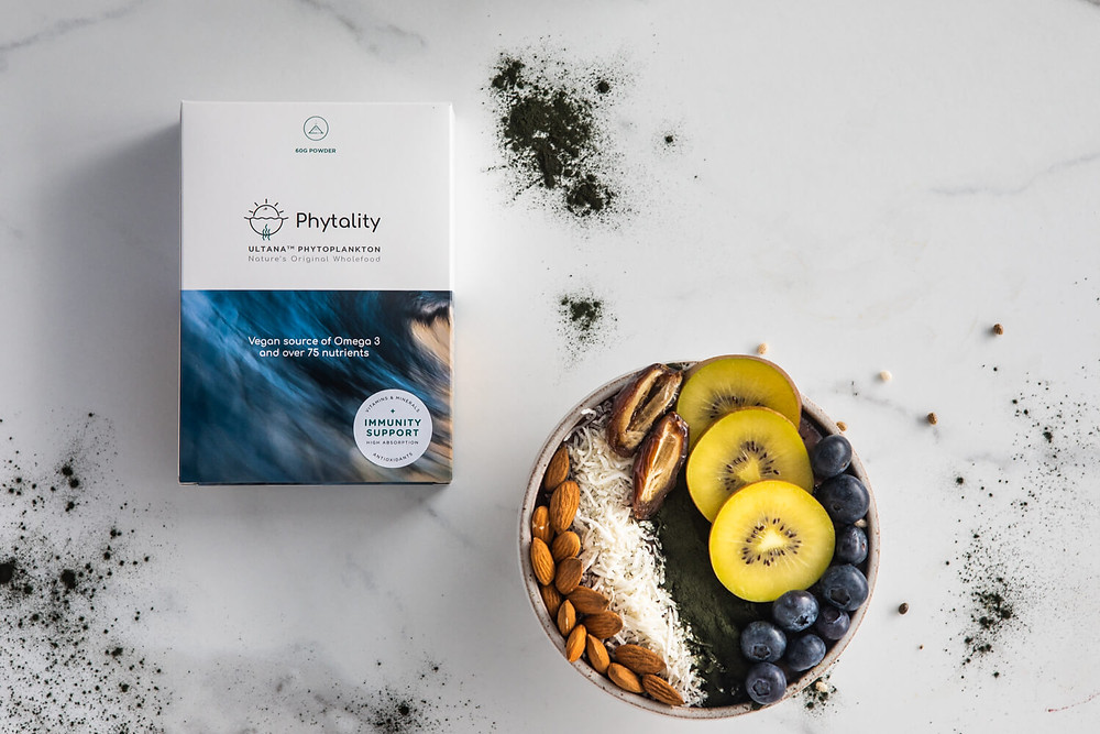 Ultana Phytoplankton by Phytality A vegan wholefood solution for your omega3 and nutritional needs. These multi-strain microalgae powders and capsules contain 100% pure, high quality phytoplankton, rich with over 75 essential nutrients for adding to smoothies or for taking with water and juice