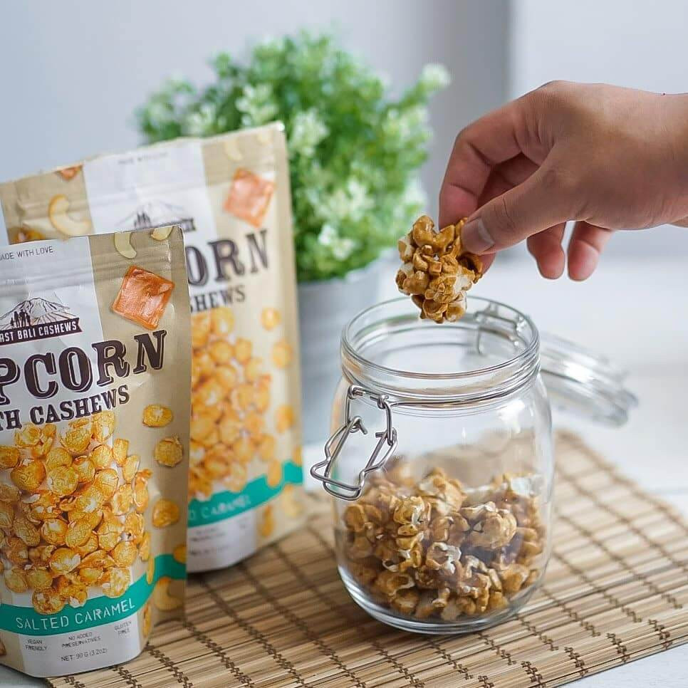 East Bali Cashews Popcorn Tropical indulgence from Bali. Delicious oven roasted cashew snack experiences with fresh and delicious local ingredients and flavours.