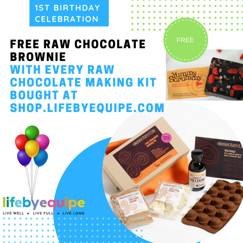 Free Raw Choc Brownie with Raw Choc Making Kit by Elements for Life