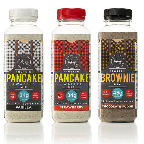 Protein-Packed, Gluten-Free Vegan Baking Mixes For Pancakes, Waffles & Brownies