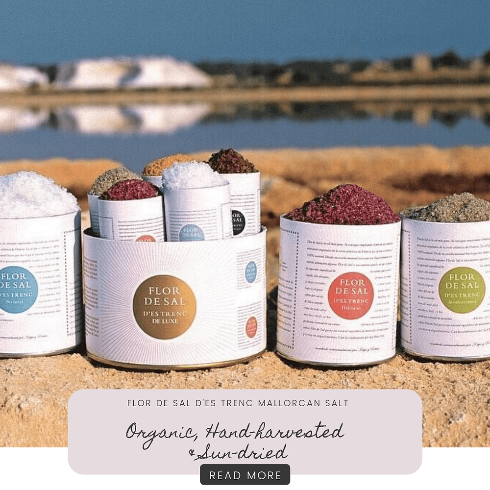 Flor de Sal d'Es Trenc Mallorcan Salt 100% Pure and natural sea salt, hand-harvested and sun-dried from Mallorca for everyday food flavouring for cooking and baking