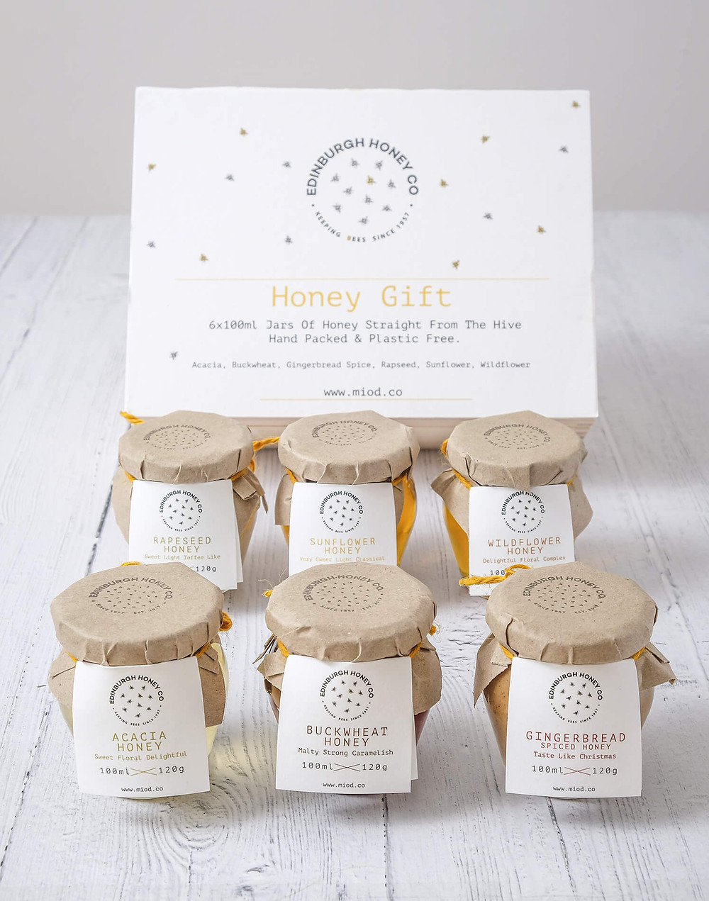 Handpicked Honey Gift Set in a wooden box, containing Acacia, Buckwheat, Gingerbread, Rapeseed, Sunflower & Wildflower Honey.