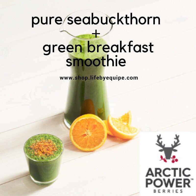 Arctic Power Berries pure sea buckthorn and green breakfast smoothie