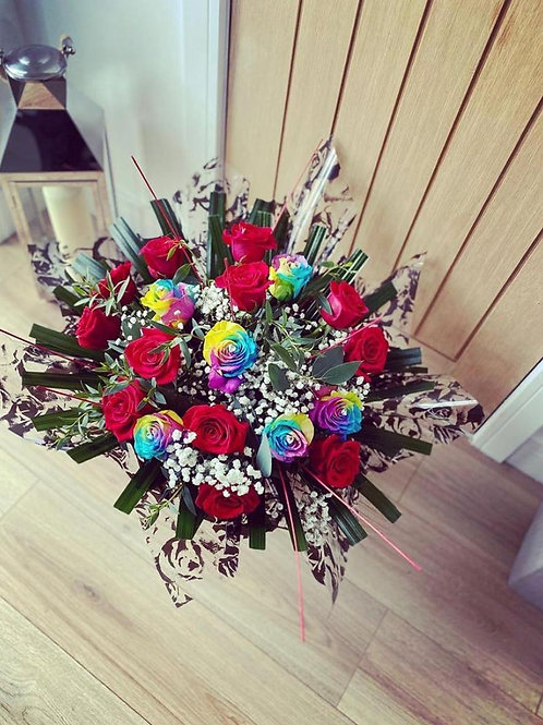Dozen Red Roses & 6 Rainbow Roses