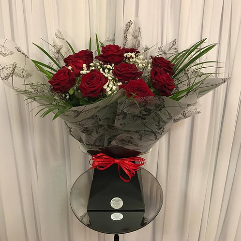 Dozen Red Roses Gip Hand-tied in a box