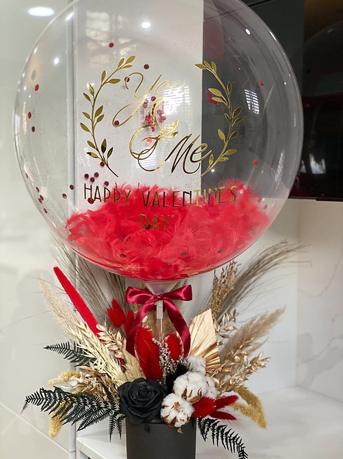 Silk & Dried Arrangement with personalised Balloons