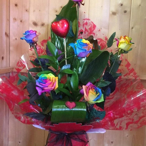 6 Rainbow Roses in a box