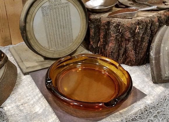 Vintage Large Amber Glass Cigar Ashtray