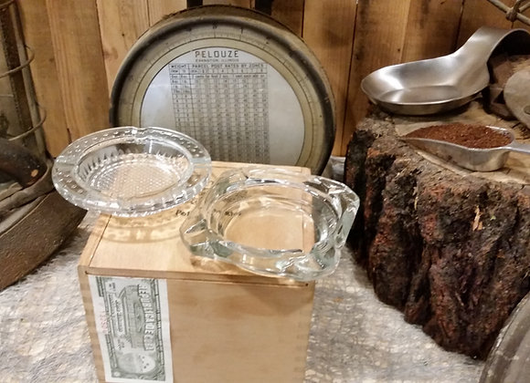 Set of 2 Vintage Ashttrays Clear Glass