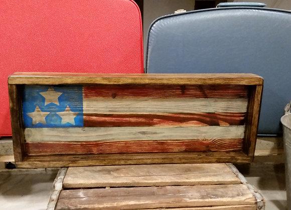 4th of July Framed Rustic Wood American Flag