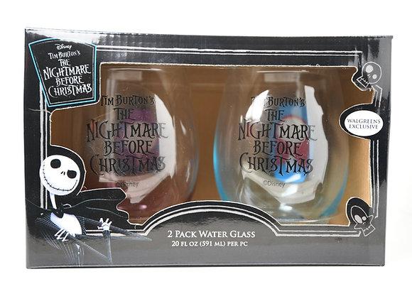 Disney Nightmare Before Christmas 2 Pack Water Glass Tim Burton *New*