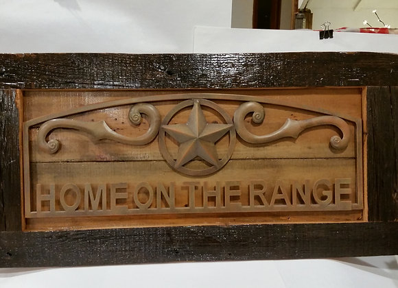 RUSTIC HAND MADE FRAME HOME ON THE RANGE SIGN
