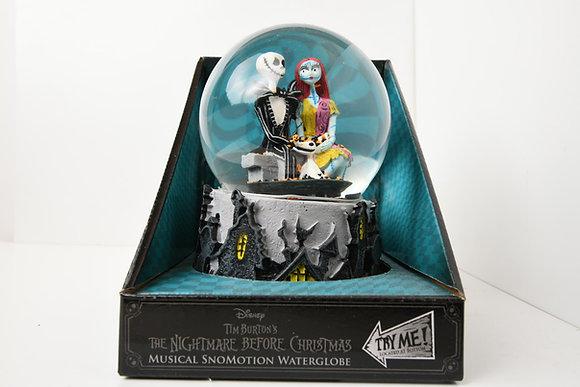 Disney Nightmare Before Christmas Snomotion Musical Water Globe Jack Sally Zero.