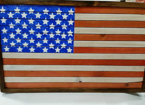 Hand Made Rustic Wood American Flag