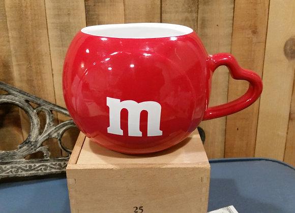 M&M RED COFFEE CUP, MUG, Heart Handle