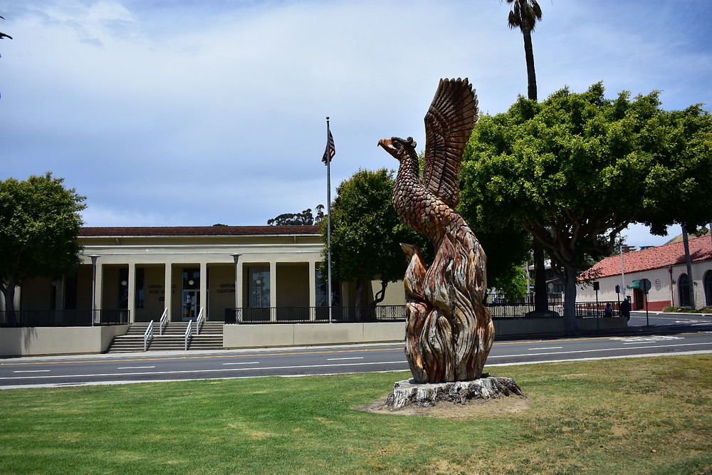 Carved phoenix in city of Ventura