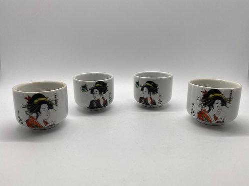 Circular Japanese Sake Cups Set of 4