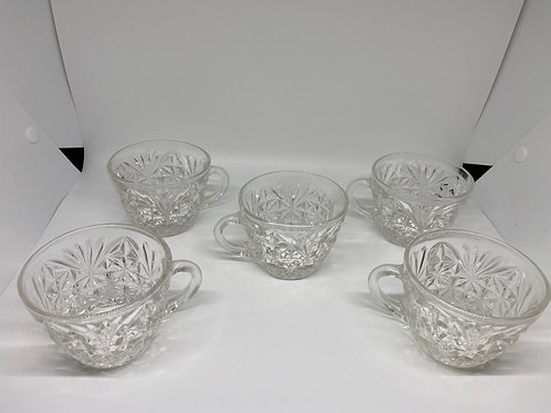 Anchor Hocking Clear Glass Stars Teacup Set of 5
