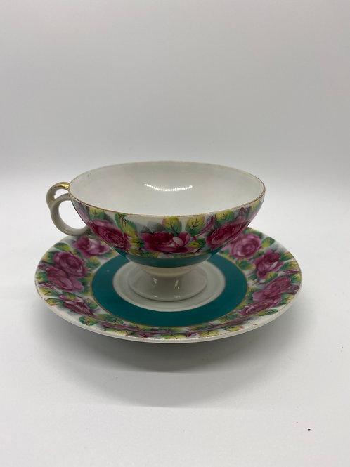 Rose tea cup and saucer set