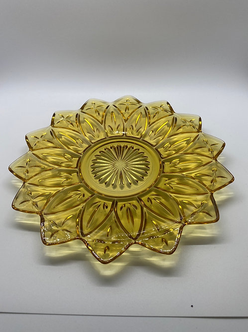 2 Amber Federal Glass Petal Pattern Plates