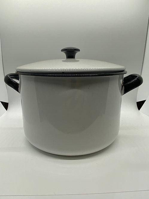 Vintage large white enamel pot with lid. black trim