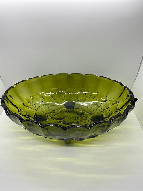 Vintage Avocado Green Glass Fruit Bowl