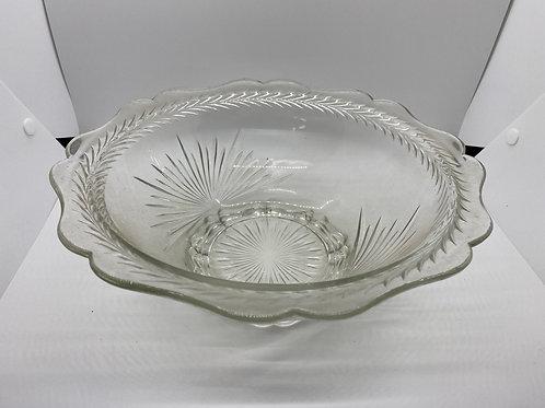 Vintage 1930s Jeanette Glass Sunburst Herringbone Bowl