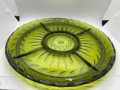 Vintage Indiana Glass Avocado Green Relish Dish