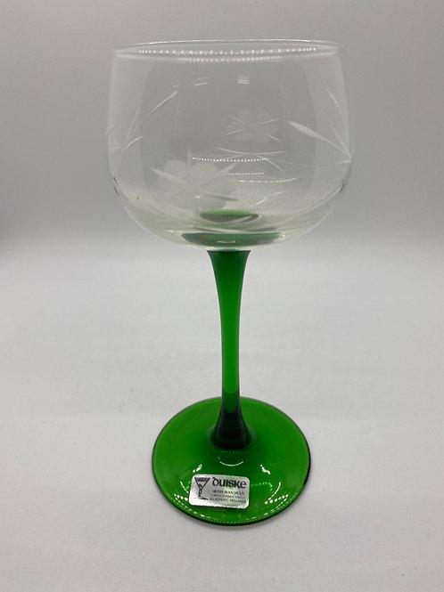 Vintage Duiske Emerald Stem Wine Glasses (Set of 6)