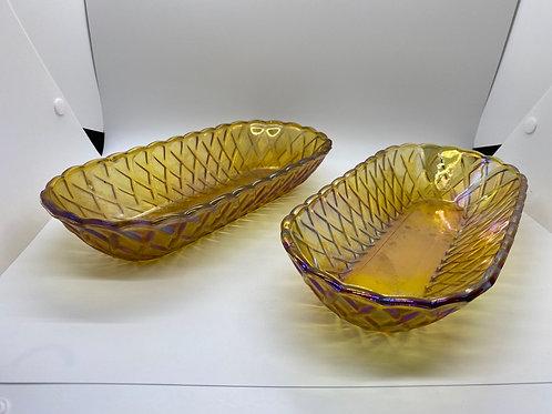 Vintage Carnival Glass Amber Iridescent Pretzel Bowls Set of 2