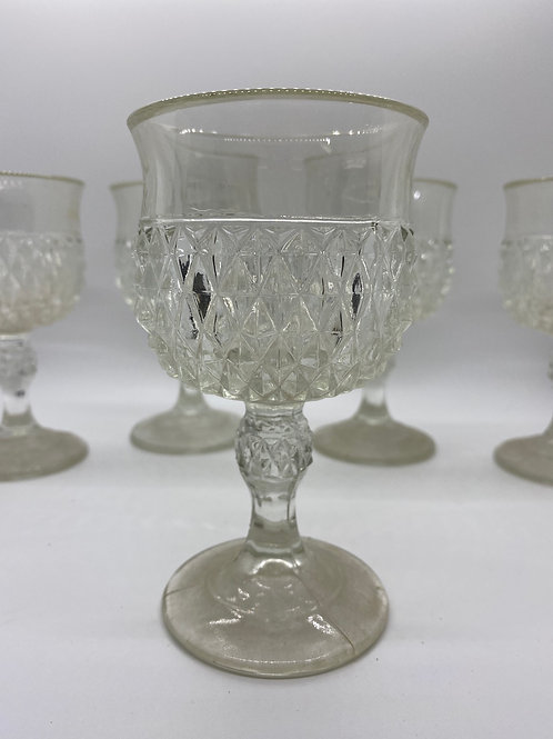 Antique Three mold presssed glass water goblet