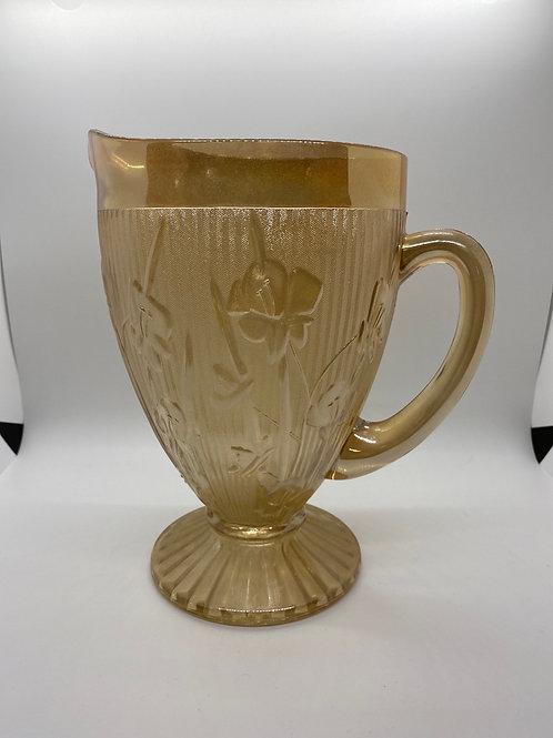 Vintage Glass Iridescent Marigold Pitcher