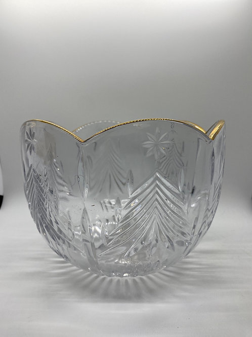 Glass Christmas Bowl with Golden Trim