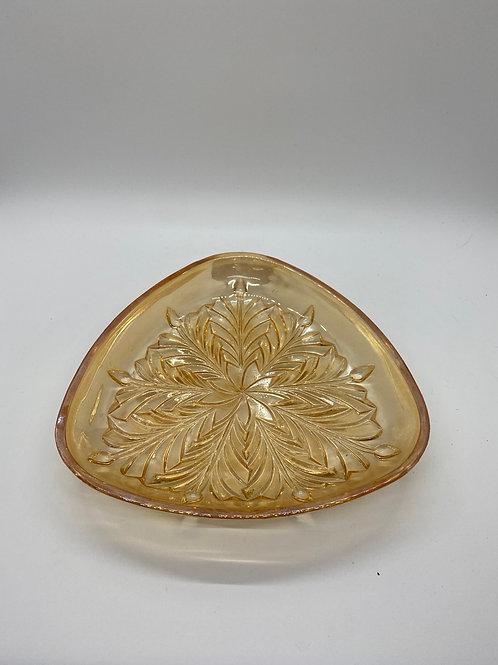 Vintage Triangle Glass Trinket Dish