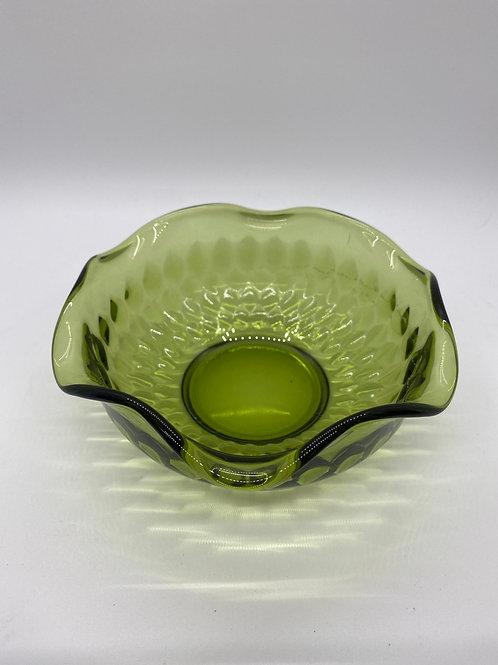 Vintage Avocado Glass Swirl Rim Bowls Set of 5