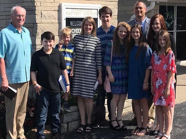 Pastor Marcus Shrader andhis family at Stanford Baptist Christian Church