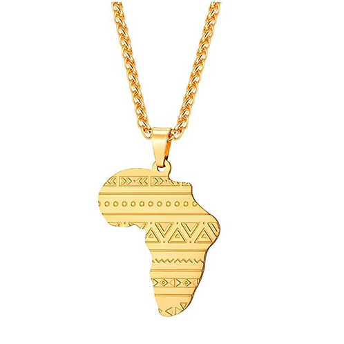 Africa Map Pendant Stainless Steel / 18K Gold Plated