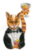 Cartoon cat in a tuxedo with a cocktail in his paws and in his tail