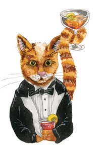 cartoon of cat with cocktails in its paws and tail