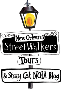 Cartoon New Orleans street sign: New Orleans Streetwalkers Tours