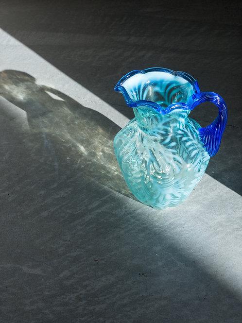 FENTON Blue opalscent Vintage Flower Vase