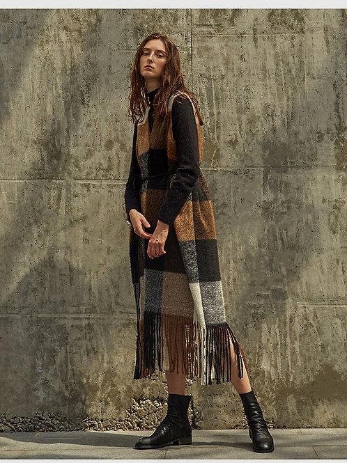 Plaid design with fringe wool dress