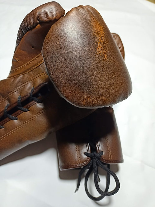 Walnut Leather Lace-Up Boxing Gloves
