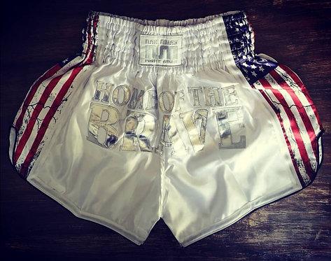 USA Muay Thai Shorts White